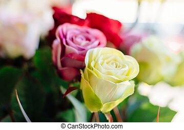 künstlich, rosa gelb, rosen