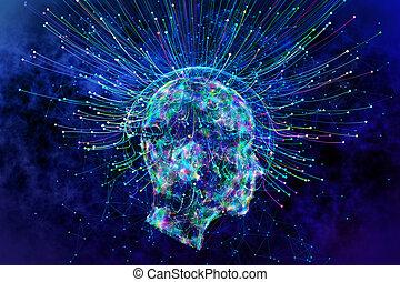 künstliche intelligenz, und, idee, begriff