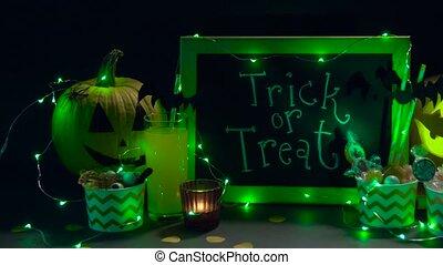 kürbise, süßigkeiten, halloween, dekorationen