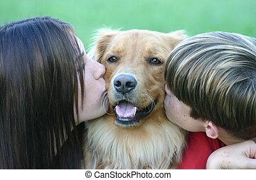 küssende , kinder, hund