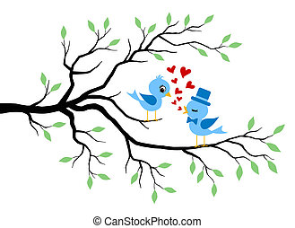küssende , liebe, baum, vögel