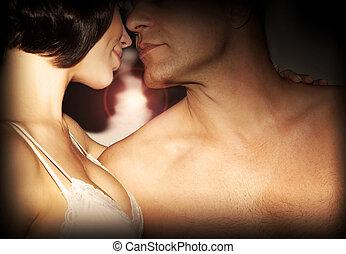 küssende , paar, glücklich