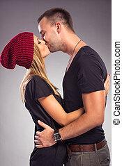 küssende , paar, liebe, studio