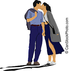 küssende , paar, vektor, abbildung