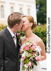 küssende , park, wedding, -