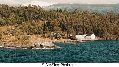 küsten, boattrip, auf, a, fjord, norwegen, -, cinematic, stil
