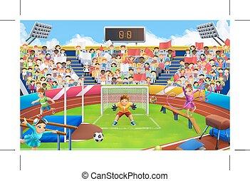 küzdőtér, stadion, vektor, háttér, sport