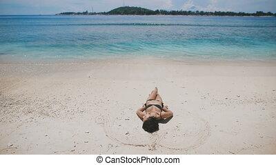 kąpanie się, island., czysty, wyspa, piasek, turkus, ...