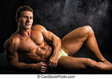 kąpanie się, podłoga, shirtless, kładąc, muskularny, na dół...