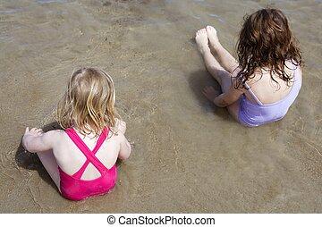 kąpanie się, pozować, dwa, kostium kąpielowy, garnitur, ...