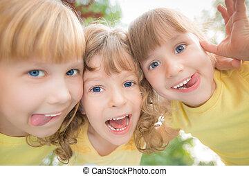 kąt, niski, portret, prospekt, dzieci, szczęśliwy