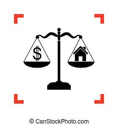 kąty, symbol, dolar, ognisko, o, czarnoskóry, dom, skalpy., ikona