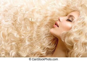 kędzierzawy, hair., fason, dziewczyna, z, zdrowy, długi,...
