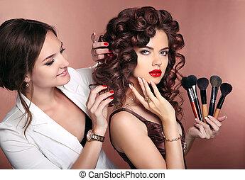 kędzierzawy, hair., piękno, makijaż