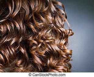 kędzierzawy, .natural, machać, włosy, hair., hairdressing.