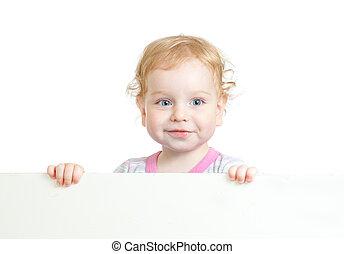 kędzierzawy, sprytny, dziecko, twarz, dzierżawa, czysty, reklama, chorągiew