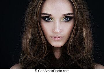 kędzierzawy włos, woman., piękna twarz