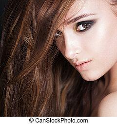 kędzierzawy włos, woman., twarz, closeup