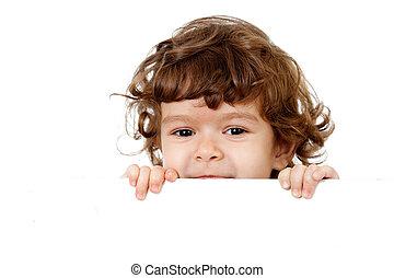 kędzierzawy, zabawny, dziecko, twarz, dzierżawa, czysty, reklama, chorągiew