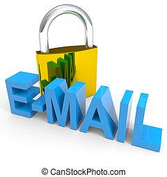 kłódka, concept., word., e-poczta, bezpieczeństwo, internet