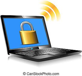 kłódka, laptop, zamknięty, ekran