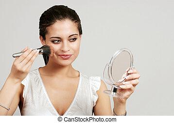 kładzenie, kobieta, szczotka, makijaż