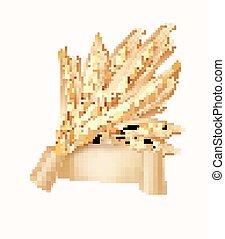 kłosie, illustration., wektor, wheat.