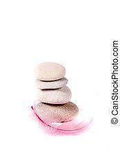 kő, és, rózsaszínű, tollazat