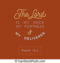 kő, vagy, erőd, nyomtatás, biblia, t, vers, deliverer, az enyém, bibliai, lord, ing, repülő, poszter, alkalmaz, psalmus