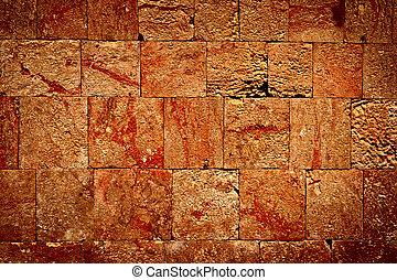kőfal, közül, mayan, tönkretesz
