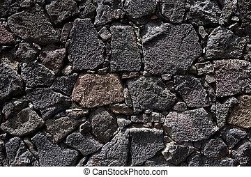 kőfal, láva, lanzarote, fekete, kőművesség