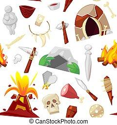 kőkorszak, vektor, ősi, neanderthale, kövezett, fegyver,...