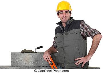 kőműves, csípőre tett-, feltevő, kar, fal