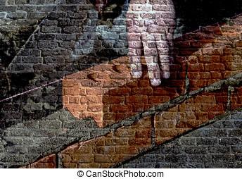 kőműves, fal, kép, overlaid, tégla