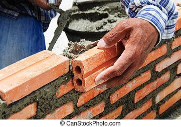 kőműves, munkás, beiktató, kőműves, szerkesztés, tégla