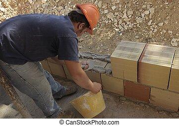 kőműves, szabadban, munkás, kőműveskanál, kőműves, ...