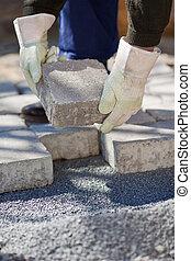 kőműves, utca, kövezet