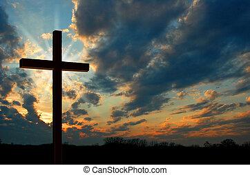 kříž, v, západ slunce