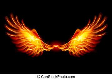 křídla, hořící
