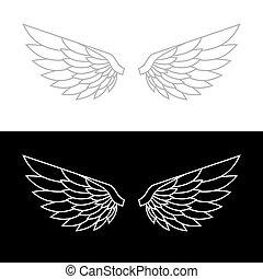 křídlo, ikona, set., vektor