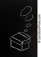 """křídová kresba, -, pojem, o, """"think, mimo, ta, box"""""""