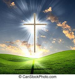 křesťanský, nebe, kříž, na