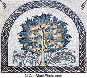 křesťanský, strom, tradiční, cesmína, portrét, mozaika