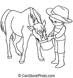 kůň, barvivo, dítě, krmení, volt, kniha