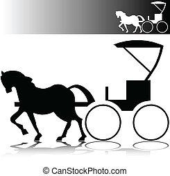 kůň, bryčka, vektor, silhouettes