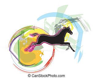 kůň, vektor, ilustrace