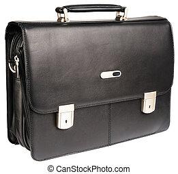 kůže, temný briefcase