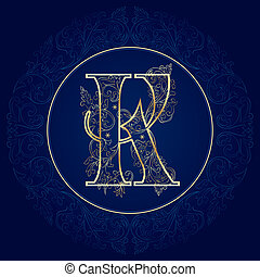 k, 花, 手紙, 型, アルファベット
