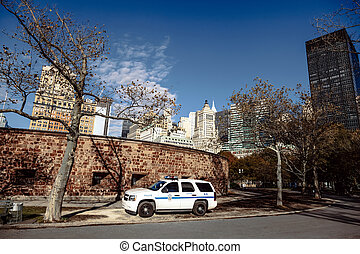A K-9 squad police car parked on the pavement at Battery Park in Manhattan.