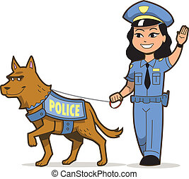 K-9 Police Dog and Asian Female Police Officer